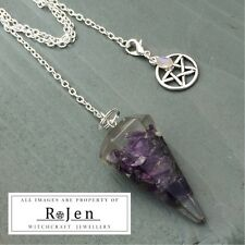 Orgonite Amethyst Pendulum Necklace Combo Pentagram Rainbow Moonstone Clip Charm