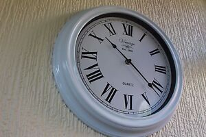 VINTAGE-SHABBY-CHIC-WHITE-ANTIQUE-WALL-CLOCK-ROUND-ROMAN-NUMBER-WALL-CLOCK-NEW