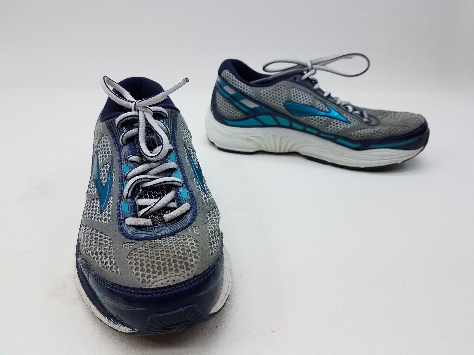 Brooks Dyad 8 Running Womens Size 7.5 Grey bluee Turquoise Metallic Sports shoes