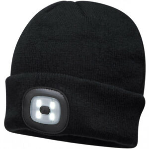 Portwest Beanie Hat with Rechargeable LED Head Light - Black Yellow ... 0093ef1b441