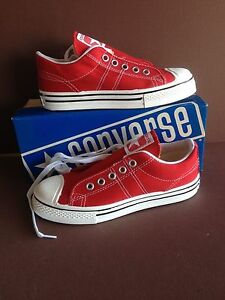 Converse Sneakers, Old Stock, USA made, from 1975. RED, in Box, Boys sz 3 1/2