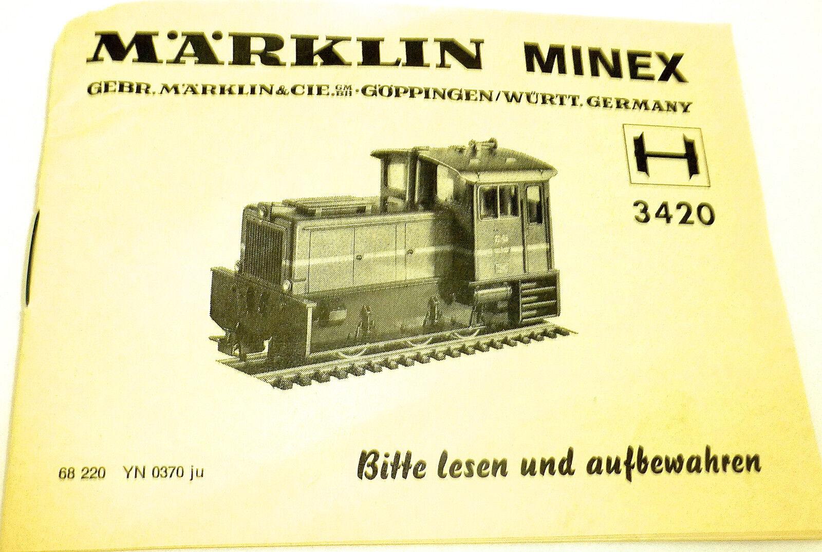 3420 Manual Märklin Minex 68 220 YN 0370 Ju Å