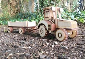 Tractor & Trailer Wooden farm vehicle laser cut wood kit for self assembly