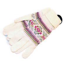 Red Camel Women's White Inca Pattern Fair Isle Knit Winter Gloves One Sz LK3006