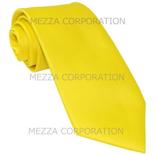 New Vesuvio Napoli Men/'s extra long necktie solid color 100/% polyester Yellow