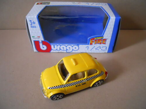 MV15 Fiat 500 Giallo Taxi NYC Modellino Bburago 1:43 Die Cast