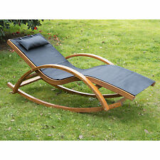 Outdoor Patio Chaise Lounge Recliner Rocking Chair Wooden Mesh w/ Cushion Black