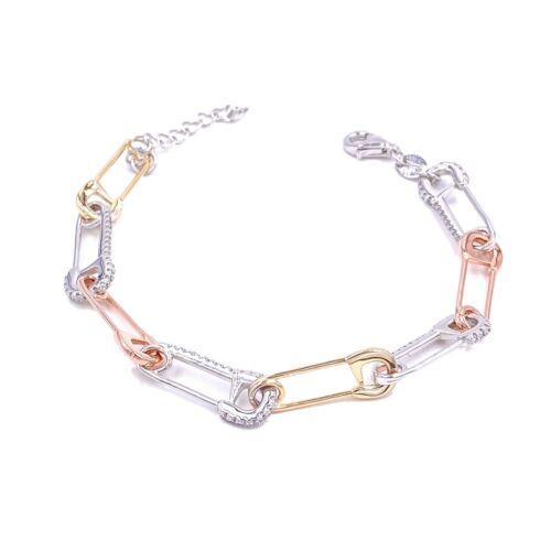 Needles Chain Bracelet Cubic Zirconia Gemstone 925 Silver Gold Filled