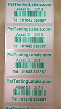1000 Green Coloured Personalised Barcode Asset Labels Stickers Scratch Proof