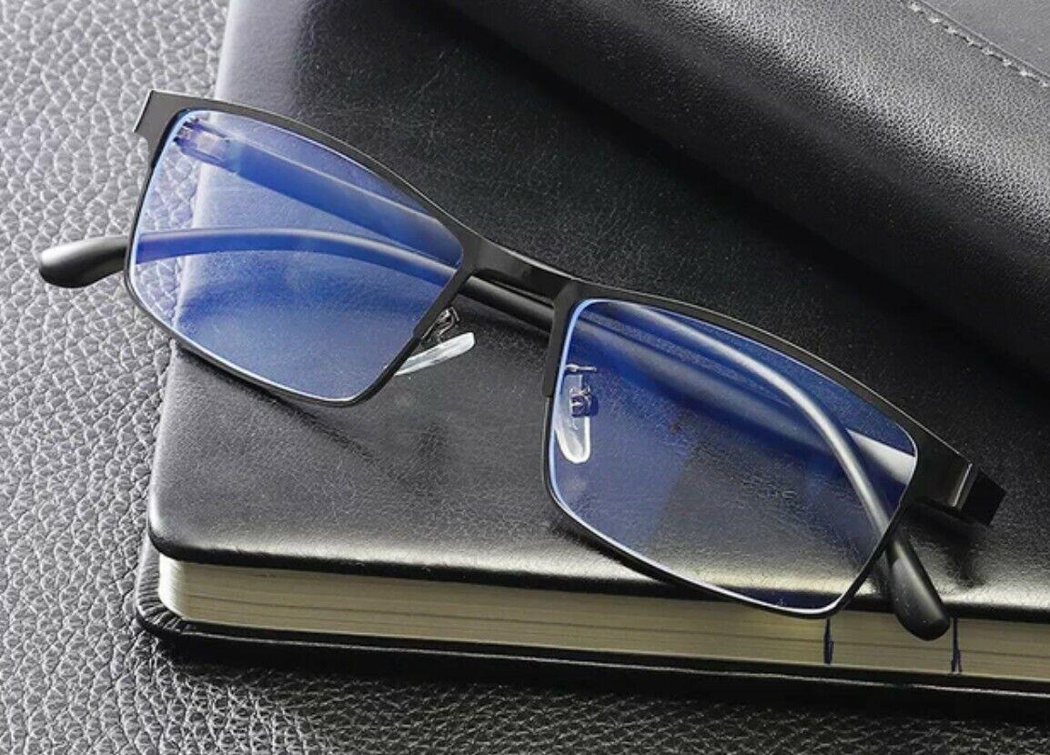 Blaufilter Blaulichtfilter Lesebrille PC Brille Edelstahl ohne Sehstärke