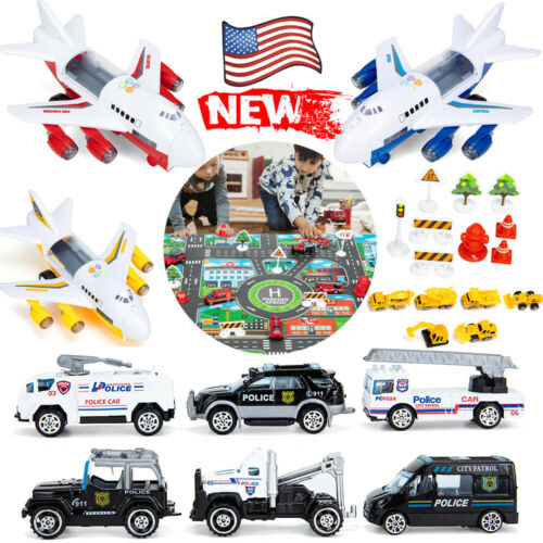 Car Toys Set with Transport Cargo Airplane and Large Play Mat Gift Pack for Kids