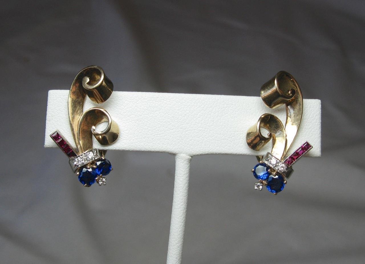 Sapphire Ruby Diamond Earrings Appraised  1260 Retro Art Deco 14K gold Hollywood