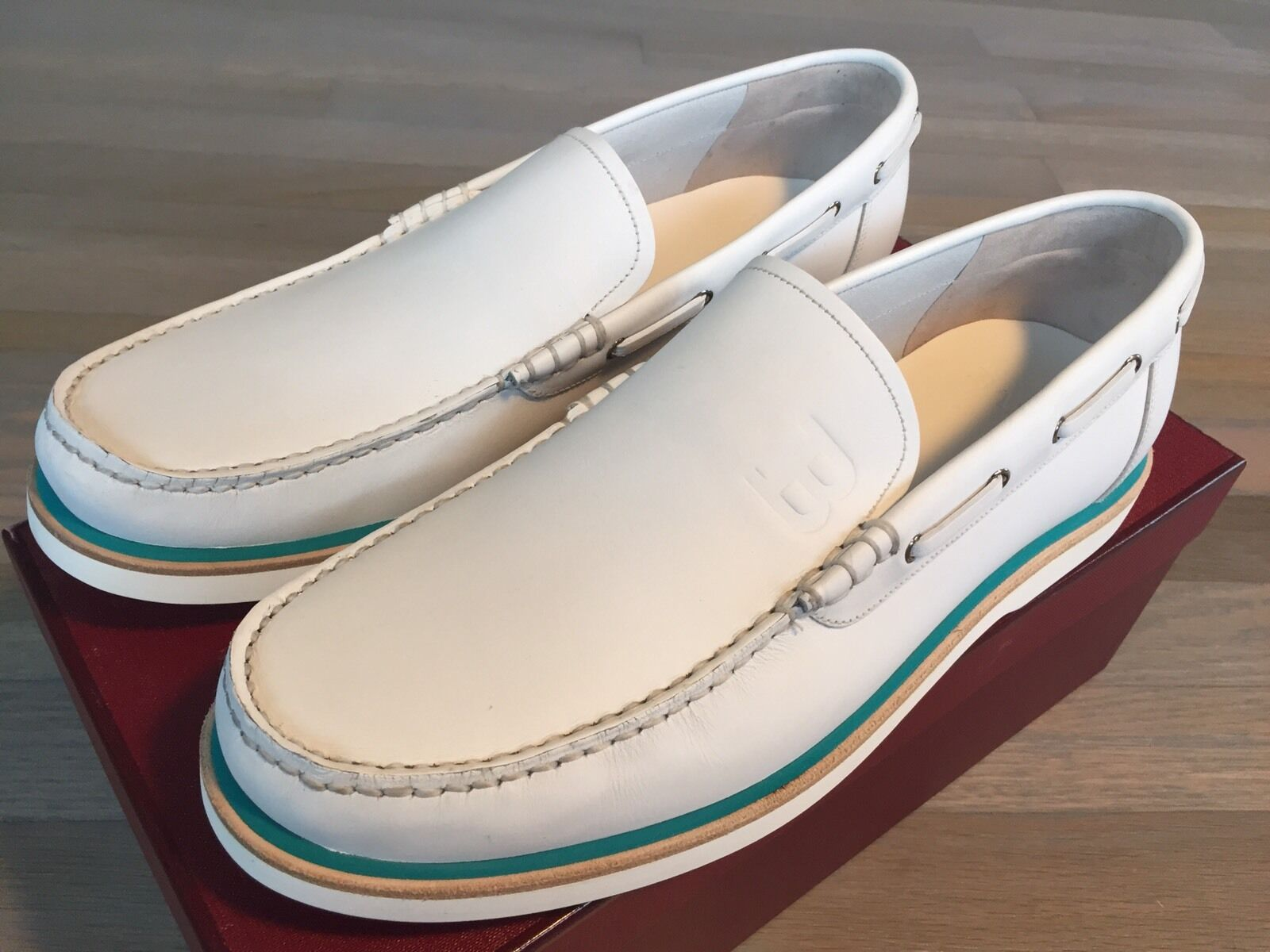 Scarpe casual da uomo  600$ Bally Leather White Boat Shoes size US 13 Made in Switzerland
