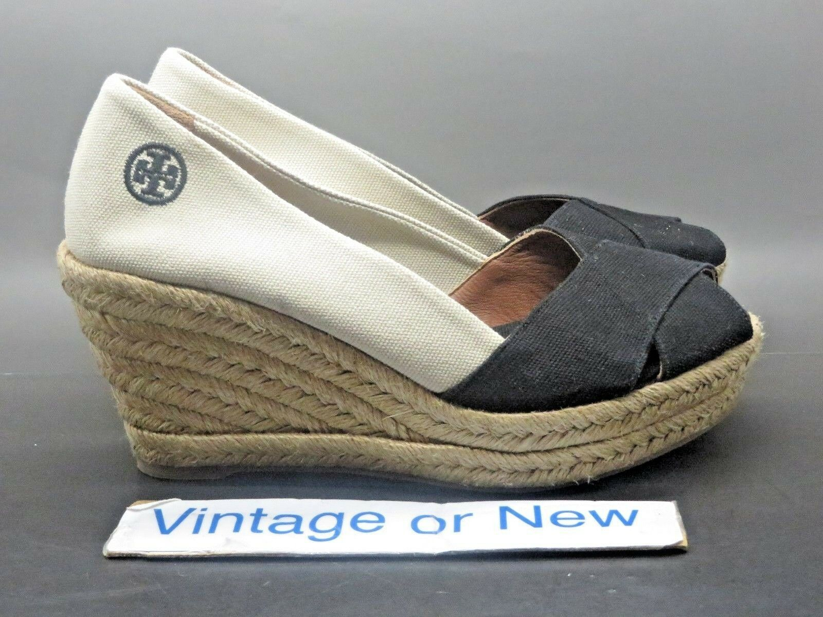 Para Para Para Mujer Tory Burch Filipa Alpargata Peep Toe Cuña de Lona Color Beige Negro Sz 7.5 B  bienvenido a orden