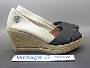 8e9bf655ef8 Women s Tory Burch Filipa Espadrille Black Beige Canvas Peep Toe ...