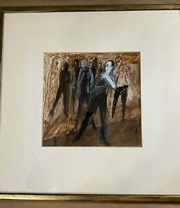 Stunning-Ser-Leone-034-A-Group-Of-Men-Scene-Gouache-Painting-Signed-And-Framed