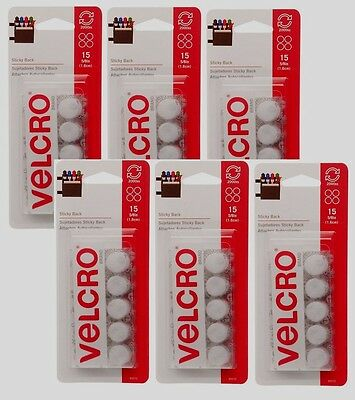 W White 15 pk Adhesive Backing 90070 Velcro Hook and Loop Fastener 5//8 in New