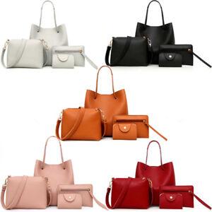 4pcs-Set-Women-Handbag-Lady-Shoulder-Bags-Tote-Purse-Messenger-Satchel-Leather