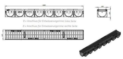 Entwässerungsrinne Kl.C250//25T Hofablauf Gully Schlitzrinne Regenrinne KG Rohr