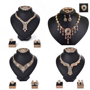Luxury-Fashion-Women-Jewelry-Set-4PCS-Gold-Plated-Necklace-Bracelet-Earring-Ring