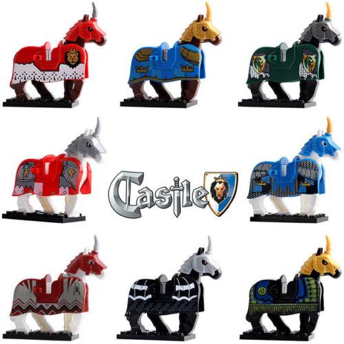 8Pcs War Horse Medieval Knights Rome Crusader Lego Moc Minifigure Toys