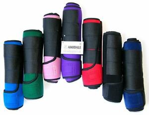 AMIDALE-MEDICINE-BRUSHING-SUPPORT-BOOTS-HORSE-EQUESTRIAN-WRAPS-SET-OF-2-BNWT