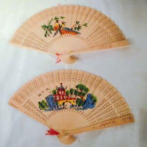Detalles De 6 De Madera Abanicos Orientales Disfraz Regalo Ventilador Decoración Nueva Grueso Madera Hand Held Ver Título Original