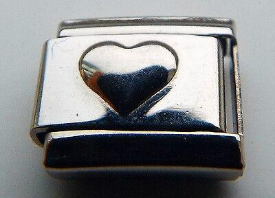 Raised puffy heart 9mm stainless steel italian charm bracelet link new