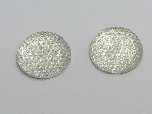 "20 Clear Resin Round Flatback Dotted Rhinestone Cabochon Gem 20mm 3//4/"""