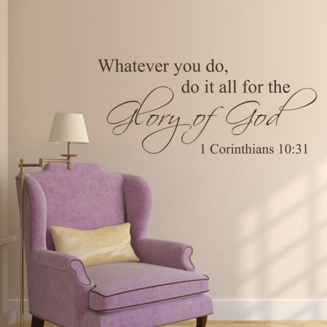 1 Corinthians 10 31 Wall Decal Bible Verse Quote Vinyl Art Bedroom ...