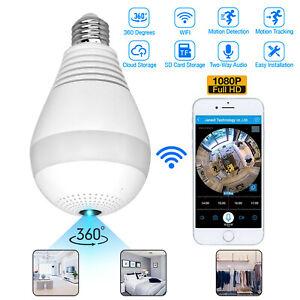 Light Bulb IP Camera Wireless WiFi Security Camcorder Full HD 1080P Smart Cam US