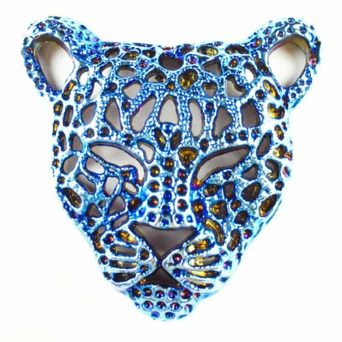1Pcs 16g Carved Blue Plated Tibetan Silver Leopard Head Pendant Bead SH806