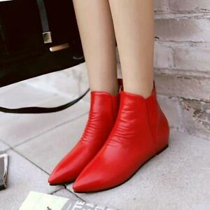 Womens-Pointed-Toe-Faux-Leather-Flat-Heel-Ankle-Boots-Shoes-casual-hot-sale-size