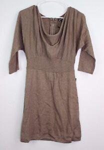 Express-Women-039-s-Brown-Sweater-Dress-3-4-Sleeve-Career-Wool-Cowl-Neck-Size-S-P