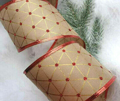 1m X 63mm GREEN HOLLY GLITTER HESSIAN CHRISTMAS RIBBON CAKES//GIFT WRAPPING