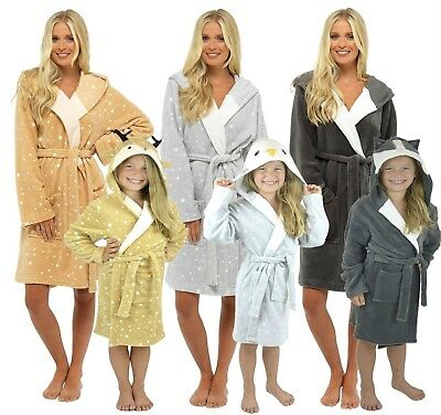 Girls Womens Christmas Hooded Fleece Matching Mother & Daughter Bath Robe Gown
