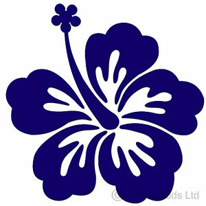 36 Dark Blue Hibiscus Flowers Stickers Decals For Car Wall Home