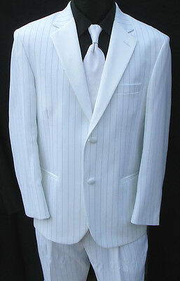 42S New White Pinstriped Tuxedo Set Prom Wedding Winter Formal Package