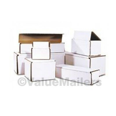100 - 6 3/16 x 5 3/8 x 2 1/2 White Corrugated Shipping Mailer Packing Box Boxes