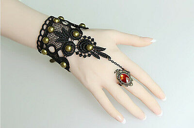 Victorian Sexy Bronze Rivet & Lace Flower Bracelet Gothic Style Wrist Ring Gifts