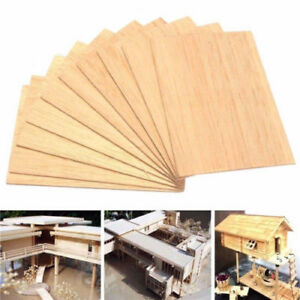 Wooden-Plate-Model-Balsa-Wood-Sheets-DIY-House-Ship-Aircraft-100x100x2mm-10PCS