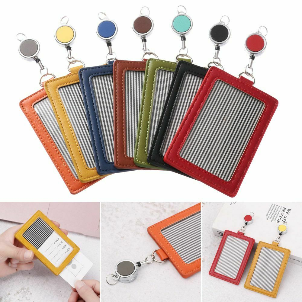 Case Name Badge Holder PU Leather Work Card Holder With Retractable Lanyard
