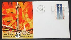 Seattle-World-039-s-Fair-1962-Collectors-Club-Official-Cachet-US-Cover-Letter-Y-331