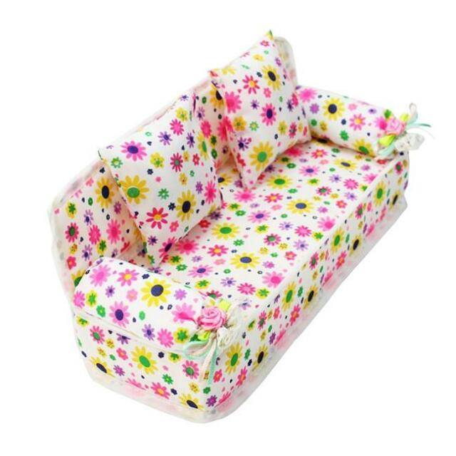 Mini Furniture Sofa Couch +2 Cushions For Barbie Doll House Accessories Girls B