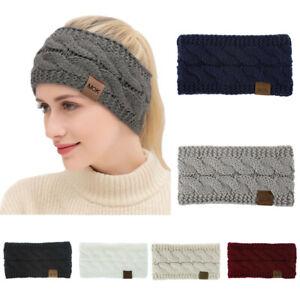 Usa-Femmes-Hiver-Solide-Couleur-Laine-Tricotee-Bande-de-cheveux-Sports-Headband