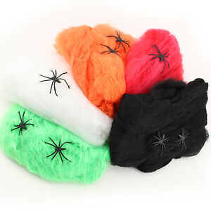 Details About Stretchy Spider Web Decorations Halloween Haunted House Party  Supplies BULK