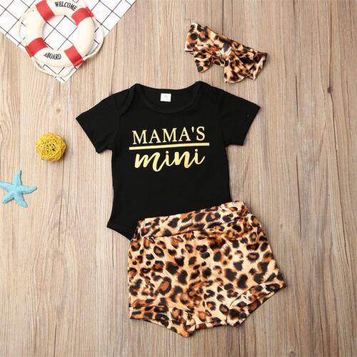 Newborn Infant Baby Girl Leopard Clothes Jumpsuit Romper Bodysuit Pants Outfits