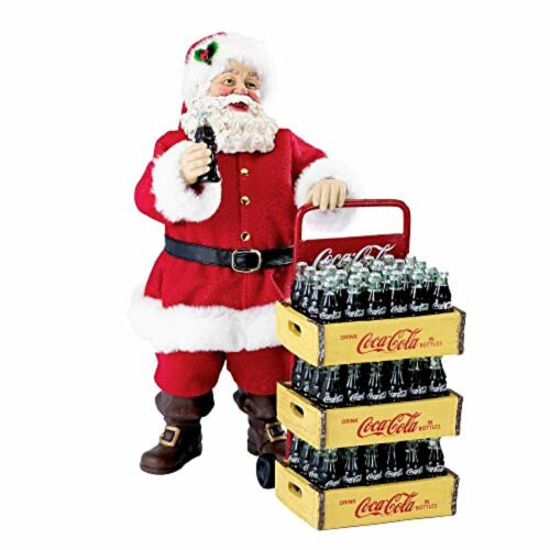 Set of 2 Kurt Adler CocaCola Santa with Delivery Cart 10.5Inch Christmas Decor