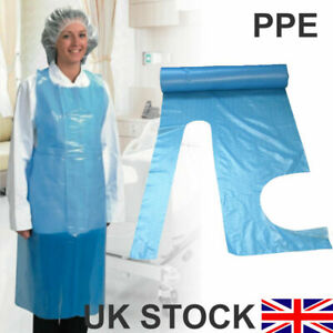 2 X Pack of 100 Disposable Polythene Aprons Blue Medical Grade PPE (Blue)