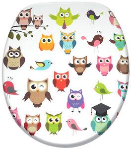 klobrille toilettensitz toilettenbrille wc deckel brille mit absenkautomatik owl ebay. Black Bedroom Furniture Sets. Home Design Ideas